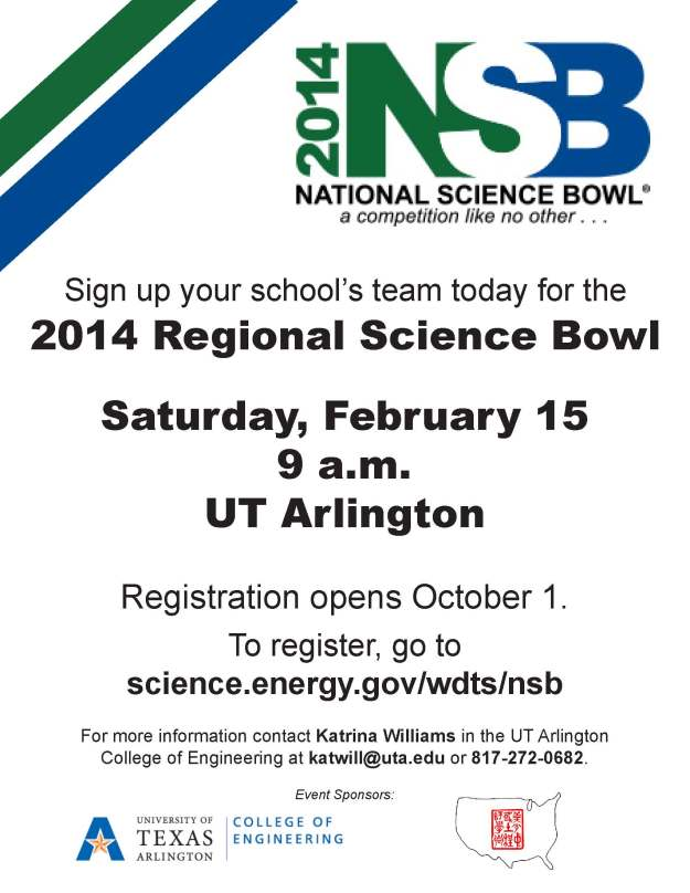 2014 North Texas Regional Science Bowl Flyer